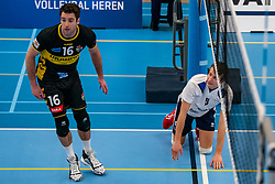 Mats Kruiswijk #16 of Dynamo, Yorick de Groot #5 of Sliedrecht Sport  in action in the second round between Sliedrecht Sport and Draisma Dynamo on February 29, 2020 in sports hall de Basis, Sliedrecht
