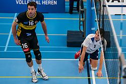 Mats Kruiswijk #16 of Dynamo, Yorick de Groot #5 of Sliedrecht Sport  in action in the second round between Sliedrecht Sport and Draisma Dynamo on February 29, 2020 in sports hall de Basis, Sliedrecht