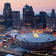 Downtown Kansas City, Missouri skyline aerial view, Sprint Center arena in foreground.