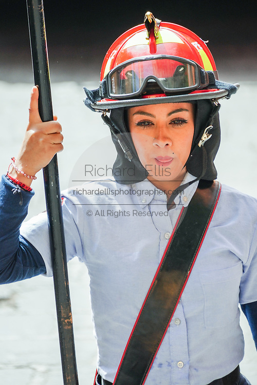 A female fire fighter marches in a parade to celebrate the 251st birthday of the Mexican Independence hero Ignacio Allende January 21, 2020 in San Miguel de Allende, Guanajuato, Mexico. Allende, from a wealthy family in San Miguel played a major role in the independency war against Spain in 1810 and later honored by his home city by adding his name.