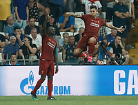 ISTANBUL, TURKEY - AUGUST 14: Sadio Mane (L) and Roberto Firmino of Liverpool celebrate a goal during the UEFA Super Cup match between Liverpool and Chelsea at Vodafone Park on August 14, 2019 in Istanbul, Turkey. (Photo by MB Media/Getty Images)