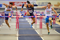 Great Britain's Andy Pozzi (left) and France's Pascal Martinot-Lagarde (centre) in the Men's 60m Hurdles Final during day three of the European Indoor Athletics Championships at the Emirates Arena, Glasgow.