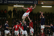 Deiniol Jones of Wales stretches to reach a lineout ball. RBS Six nations championship 2010, Wales v France at the Millennium Stadium in Cardiff on Friday 26th Feb 2010. picture by Andrew Orchard