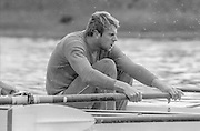 London. United Kingdom.  1987 Pre Fixture, Varsity Boat Race. National Squad vs Cambridge University BC on the Championship Course Mortlake to Putney. River Thames.  Saturday 21.03.1987<br /> <br /> [Mandatory Credit: Peter SPURRIER/Intersport images]<br /> <br /> National Squad, Steve REDGRAVE, 19870321 Pre Boat Race fixture, National Squard vs Cambridge UBC, London UK