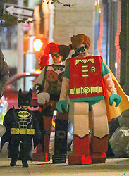 October 31 2018, New York City<br /> <br /> Justin Timberlake, Jessica Biel and their son Silas celebrate Halloween dressed as characters from The Lego Batman Movie' on October 31 2018 in New York City