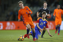 (L-R), Frenkie de Jong of Jong Oranje, Andre Armada of Jong Andorra during the EURO U21 2017 qualifying match between Netherlands U21 and Andorra U21 at the Vijverberg stadium on November 10, 2017 in Doetinchem, The Netherlands