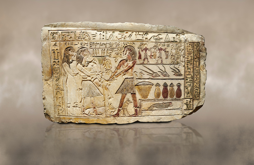 Ancient Egyptian stele showing Iti & Neferu receiving food offerings, First Intermediate Period, (2118-1980 BC), Gebelein, Tomb of Iti & Neferu,  Egyptian Museum, Turin. Schiaparelli cat 13114. .<br /> <br /> If you prefer to buy from our ALAMY PHOTO LIBRARY  Collection visit : https://www.alamy.com/portfolio/paul-williams-funkystock/ancient-egyptian-art-artefacts.html  . Type -   Turin   - into the LOWER SEARCH WITHIN GALLERY box. Refine search by adding background colour, subject etc<br /> <br /> Visit our ANCIENT WORLD PHOTO COLLECTIONS for more photos to download or buy as wall art prints https://funkystock.photoshelter.com/gallery-collection/Ancient-World-Art-Antiquities-Historic-Sites-Pictures-Images-of/C00006u26yqSkDOM
