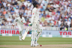 England's Keaton Jennings shows his dejection after losing his wicket to India bowler Mohammed Shami during day one of the Specsavers First Test match at Edgbaston, Birmingham.