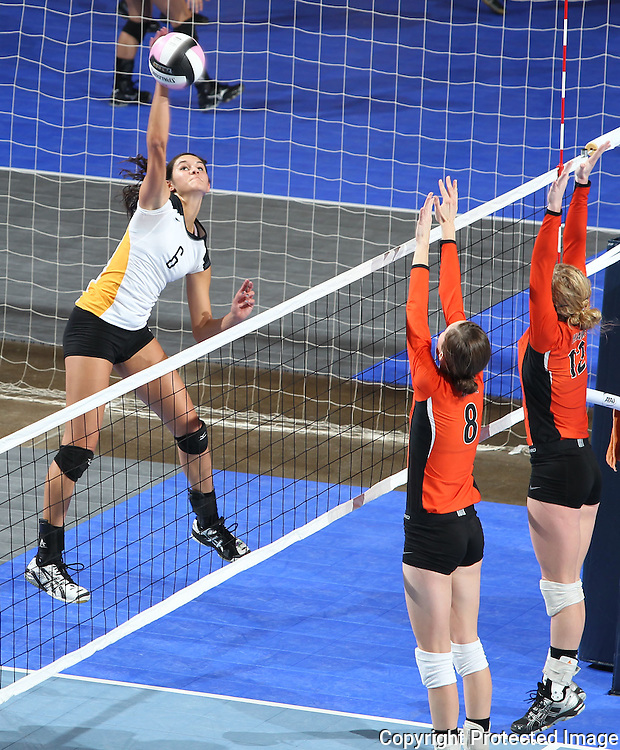 Waverly-Shell Rock's Rachel Peth (6) goes for a kill over the blocks of West Delaware's Allison Pasker (8) and Jenna Hermsen (12) during the second game of a 3A semifinal in the state volleyball tournament at the U.S. Cellular Center at 370 1st Ave E on Friday afternoon, November 12, 2010. (Stephen Mally/Freelance)
