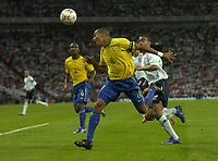 Photo: Richard Lane.<br />England v Brazil. International Friendly. 01/06/2007. <br />Brazil's Giberto Silva heads clear.