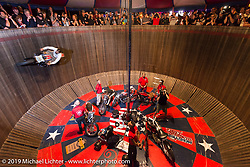 Charlie Ransom of the American Motordrome Wall of Death during Saturday night's reveal of the new 2015 Indian Scout during the Sturgis Black Hills Rally. Sturgis, SD, USA. August 2, 2014.  Photography ©2014 Michael Lichter.