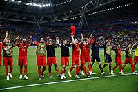 KAZAN, RUSSIA - JULY 6 :  Belgian team celebrates during the FIFA 2018 World Cup Russia Quarter-final match between Brazil and Belgium at the Kazan Arena Stadium on July 06, 2018 in Kazan, Russia, 6/07/2018 <br /> Brasil - Belgia