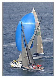 The third days racing at the Bell Lawrie Yachting Series in Tarbert Loch Fyne ..Perfect conditions finally arrived for competitors on the three race courses...GBR745R Wolf crosses GBR744R Hotel California a new C10 44 with Swan 45 Murka passing behind.