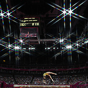 Larisa Andreea Iordache, Romania, in action during the Women's Gymnastics Apparatus Beam final at North Greenwich Arena during the London 2012 Olympic games London, UK. 7th August 2012. Photo Tim Clayton