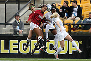 04 December 2011: Stanford's Marjani Hing-Glover (27) and Duke's Natasha Anasi (4) challenge for a header. The Stanford University Cardinal played the Duke University Blue Devils at KSU Soccer Stadium in Kennesaw, Georgia in the NCAA Division I Women's Soccer College Cup Final.