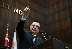 February 6, 2018 - Ankara, Turkey - President of Turkey and Leader of the Justice and Development Party (AKP), Recep Tayyip Erdogan, gives a speech during an AK party's group meeting at the Grand National Assembly of Turkey (TBMM) in Ankara.. (Credit Image: © Presidental Office/Depo Photos via ZUMA Wire)