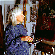 Painter looks at her painting pensively.