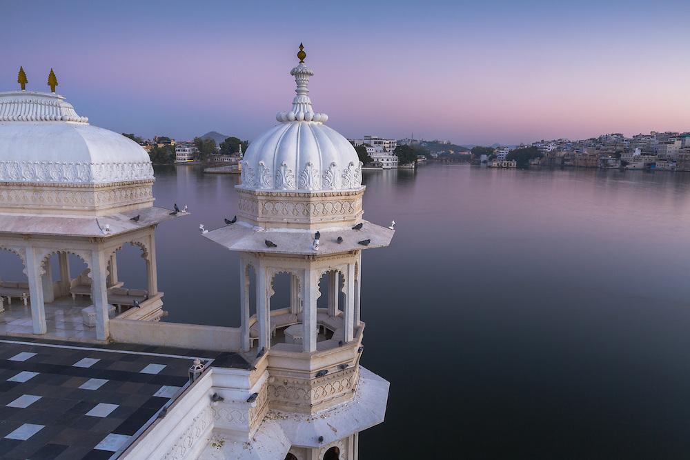 A serene silence fills the pre-dawn air at the Taj Lake Palace Hotel in Udaipur.
