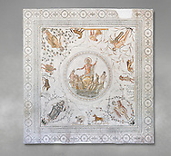 Roman mosaic panel of the Triumph of Neptune and  the mytrhical legend of The Four Seasons. From the private baths at Caput Vada (La Chebbs). End of the reign of Antoninus Pius, 138-161 AD. From Cheba, Tunisia.  The Thugga Room of The Bardo Museum, Tunis, Tunisia. Grey background .<br /> <br /> If you prefer to buy from our ALAMY PHOTO LIBRARY  Collection visit : https://www.alamy.com/portfolio/paul-williams-funkystock/roman-mosaic.html - Type -   Bardo    - into the LOWER SEARCH WITHIN GALLERY box. Refine search by adding background colour, place, museum etc<br /> <br /> Visit our ROMAN MOSAIC PHOTO COLLECTIONS for more photos to download  as wall art prints https://funkystock.photoshelter.com/gallery-collection/Roman-Mosaics-Art-Pictures-Images/C0000LcfNel7FpLI