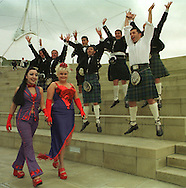 TV favourites Supergirly (Jai Simeone, left and Louise McClatchy) make new friends outside Our Dynamic Earth in Edinburgh where they were warming up for Sunday's Skoda Fringe Gala. Other celebrities who will be appearing include Boy George and Lady Salsa and Kylie Minogue.