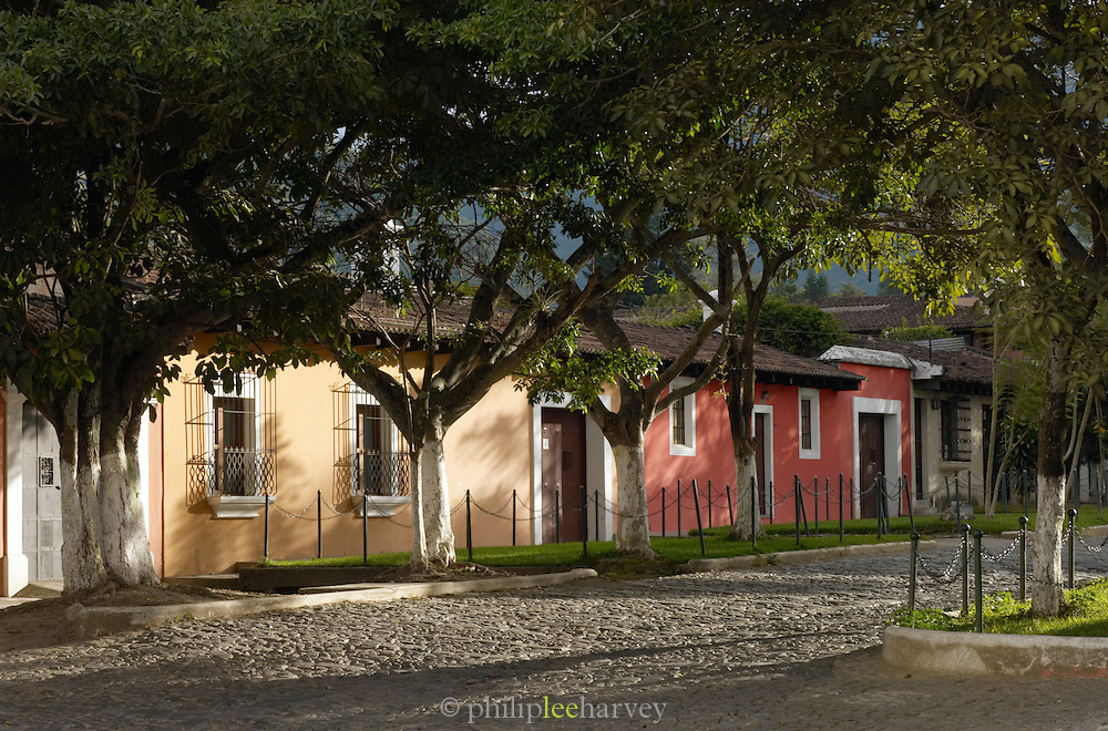 Quiet cobbled street in Antigua, a UNESCO World Heritage Site in Guatemala