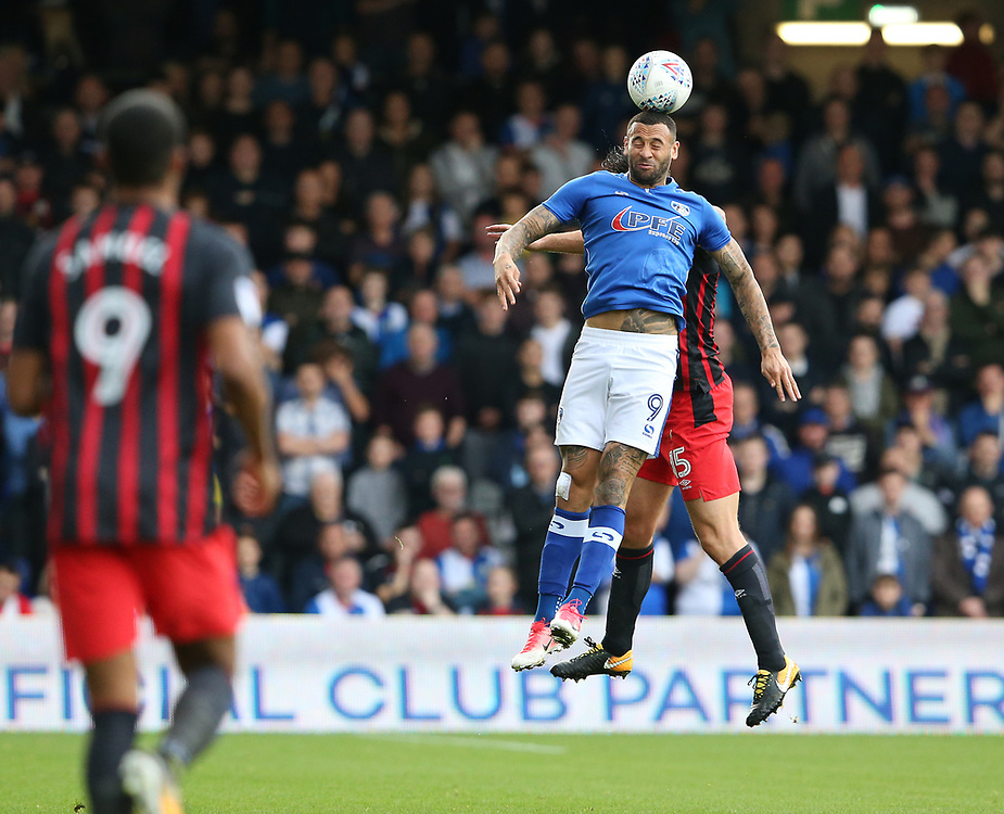 Oldham Athletic's Craig Davies and Blackburn Rovers' Elliott Ward<br /> <br /> Photographer Stephen White/CameraSport<br /> <br /> The EFL Sky Bet League One - Oldham Athletic v Blackburn Rovers - Saturday 14th October 2017 - Boundary Park - Oldham<br /> <br /> World Copyright © 2017 CameraSport. All rights reserved. 43 Linden Ave. Countesthorpe. Leicester. England. LE8 5PG - Tel: +44 (0) 116 277 4147 - admin@camerasport.com - www.camerasport.com