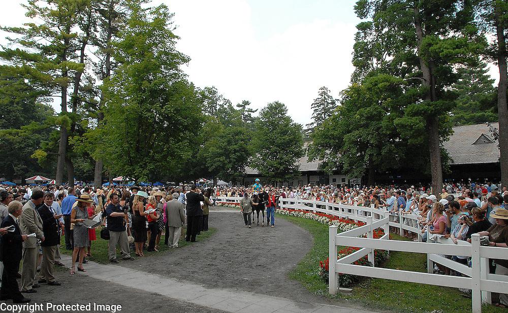 Saratoga Race Track's Paddock area.