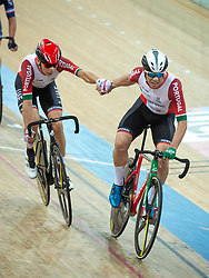 January 27, 2019 - Hong Kong, Hong Kong SAR, China - The Portugese team of Rui Filipe Alves Oliveira and Joao Matias in the Mens Madison Final.UCI Track Cycling World Cup Hong Kong 2019, Qualifiers Leg VI at the Hong Kong Velodrome in Tseung Kwan O ,Kowloon (Credit Image: © Jayne Russell/ZUMA Wire)