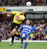 Fotball<br /> England 2004/2005<br /> Foto: SBI/Digitalsport<br /> NORWAY ONLY<br /> <br /> Watford v Reading<br /> Coca-Cola championship. Vicarage Road.<br /> 25/09/2004<br /> Watford's Gavin Mahon and readings and Paul Brooker head the ball.