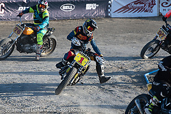 Hooligan racer and season points leader Andy DiBrino racing his Harley-Davidson on the flat track at the RSD Moto Beach Classic. Huntington Beach, CA, USA. Saturday October 27, 2018. Photography ©2018 Michael Lichter.