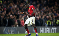 Manchester United's Paul Pogba celebrates scoring his side's second goal of the game during the FA Cup fifth round match at Stamford Bridge, London.