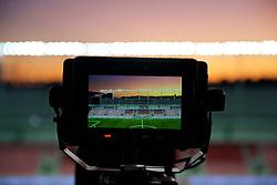 TRNAVA, SLOVAKIA - Thursday, October 10, 2019: A general view of the Štadión Antona Malatinského seen through a television camera's monitor before the UEFA Euro 2020 Qualifying Group E match between Slovakia and Wales. (Pic by David Rawcliffe/Propaganda)