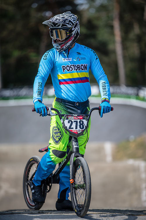 #278 (RAMIREZ YEPES Carlos Alberto) COL during practice at Round 5 of the 2018 UCI BMX Superscross World Cup in Zolder, Belgium