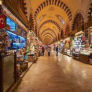 Passages and shops in Egyptian Spice market, Istanbul, Turkey