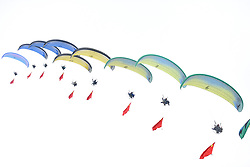HENGSHUI, May 2, 2018  Performers give a powered parachutes air show on the opening ceremony of an air sports carnival held in Hengshui City, north China's Hebei Province, May 1, 2018.  sxk) (Credit Image: © Mou Yu/Xinhua via ZUMA Wire)