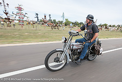 Rowdy Schenck of New Mexico riding his 1915 Harley-Davidson during the Motorcycle Cannonball Race of the Century. Stage-8 from Wichita, KS to Dodge City, KS. USA. Saturday September 17, 2016. Photography ©2016 Michael Lichter.