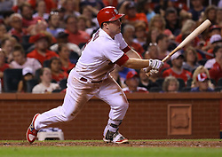 July 28, 2017 - St. Louis, MO, USA - The St. Louis Cardinals' Jedd Gyorko drives in Tommy Pham with a sixth-inning single, plating the only run in a 1-0 win against the Arizona Diamondbacks at Busch Stadium in St. Louis on Friday, July 28, 2017. (Credit Image: © Christian Gooden/TNS via ZUMA Wire)