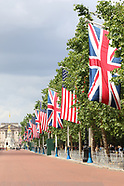 US flags line The Mall for president Trump visit to UK