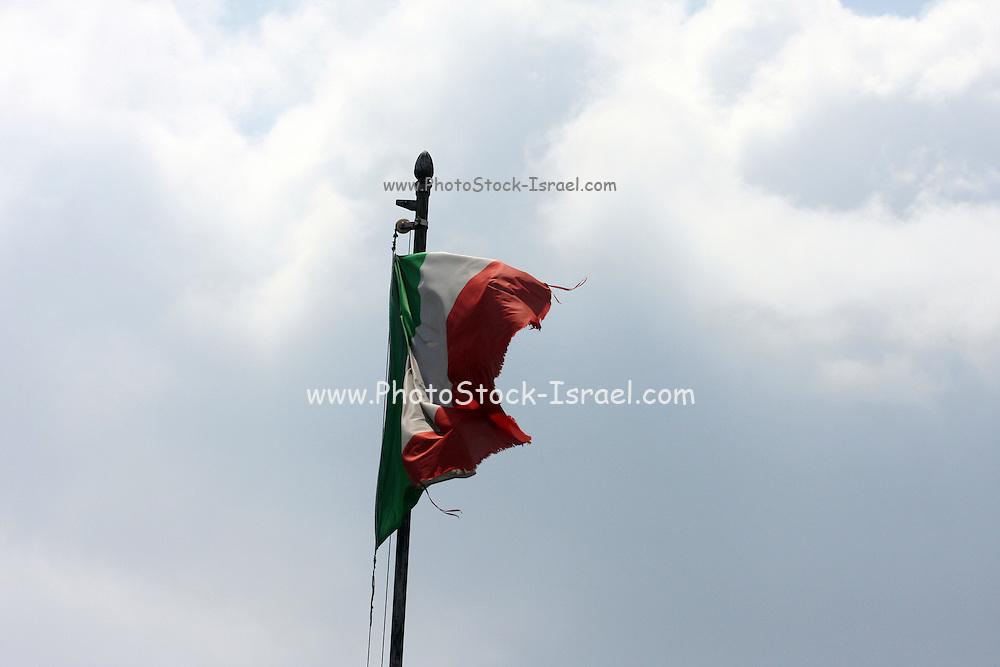 Italy, Lombardy, Lake Como Italian Flag