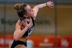 Myke van de Wiel in action on shot put during the Dutch Athletics Championships on 14 February 2021 in Apeldoorn