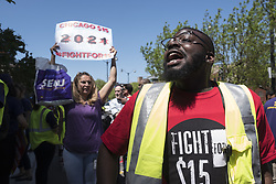 May 23, 2019 - Chicago, IL, USA - Fast food works with SEIU union members marched to McDonalds headquaters in the west loop. To demand a  $15 minimum wage and the right to form a union. (Credit Image: © Rick Majewski/ZUMA Wire)