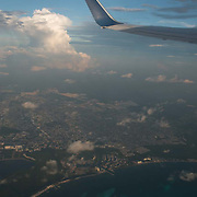 Aerial view of Cancun´s hotel zone from Airplane Window.