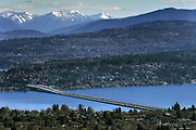 View from the Columbia Tower of I-90 crossing Lake Washington toward Bellevue. (Ellen M. Banner / The Seattle Times)