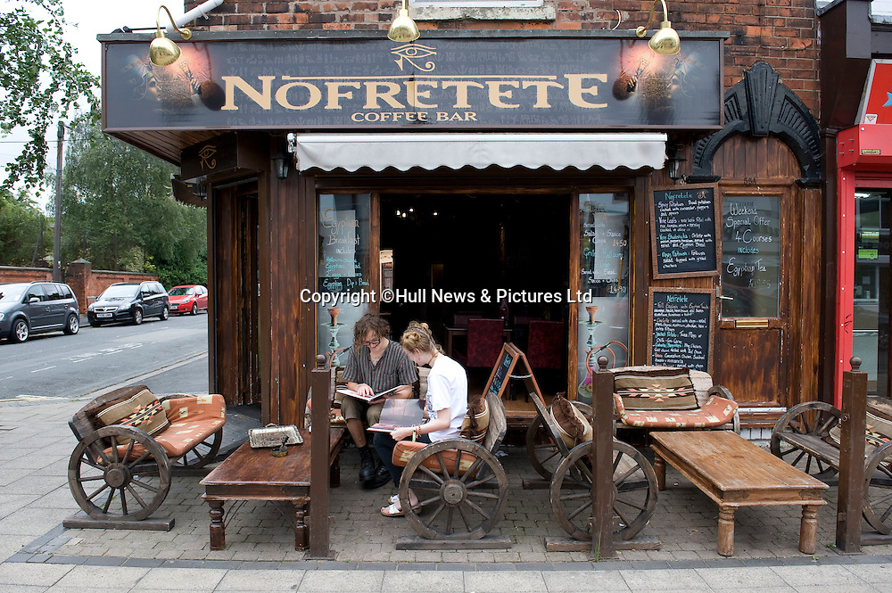 30 August 2014: Nofretete, an Egyptian cafe in Newland Avenue, Hull, East Yorkshire, UK.<br /> Picture: Sean Spencer/Hull News & Pictures Ltd<br /> 01482 772651/07976 433960<br /> www.hullnews.co.uk   sean@hullnews.co.uk