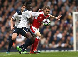 30 April 2017 London : Premier League Football : Tottenham Hotspur v Arsenal :<br /> Victor Wanyama of Tottenham (left) and Aaron Ramsey challenge for the ball.<br /> Photo: Mark Leech