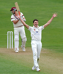 Durham's Paul Coughlin successfully appeals for the LBW of Somerset's Tom Cooper. - Photo mandatory by-line: Harry Trump/JMP - Mobile: 07966 386802 - 12/04/15 - SPORT - CRICKET - LVCC County Championship - Day 1 - Somerset v Durham - The County Ground, Taunton, England.