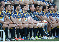 17 June 2013; Brumbies head coach Jake White, centre, and players pose for a squad photograph before training ahead of their game against the British & Irish Lions on Tuesday. British & Irish Lions Tour 2013, Brumbies Press Conference & Training, Canberra Stadium, Bruce, Canberra, Australia. Picture credit: Stephen McCarthy / SPORTSFILE