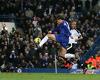Photo: Lee Earle.<br /> Chelsea v Fulham. The Barclays Premiership. 26/12/2005. Hernan Crespo scores Chelsea's third goal.