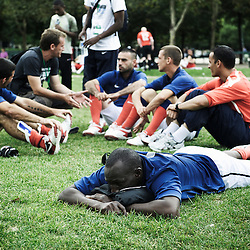 PARIS, FRANCE. AUGUST 23, 2011. The French homeless team at the Homeless World Cup, during training on the Champs de Mars. Photo: Antoine Doyen