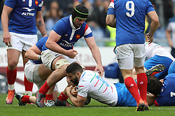March 16, 2019 - Rome, RM, Italy - Tito Tebaldi of Italy score a point during the Six Nations International Rugby Union match between Italy and France at Stadio Olimpico on March 16, 2019 in Rome, Italy. (Credit Image: © Danilo Di Giovanni/NurPhoto via ZUMA Press)